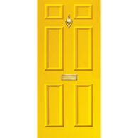 Door Vinyl Decal, Dementia Friendly with Letterbox & Knocker - Yellow