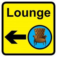 Lounge Sign with Left Arrow, Dementia Friendly - 30cm x 30cm