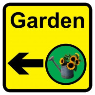 Garden Sign with Left Arrow, Dementia Friendly - 30cm x 30cm