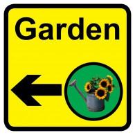 Garden Sign with Left Arrow, Dementia Friendly - 30cm x 30cm