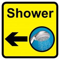 Shower Sign with Left Arrow, Dementia Friendly - 30cm x 30cm