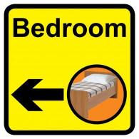 Bedroom Sign with Left Arrow, Dementia Friendly - 30cm x 30cm