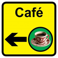 Cafe Sign with Left Arrow, Dementia Friendly - 30cm x 30cm