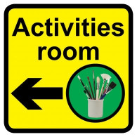 Activities Room Sign with Left Arrow, Dementia Friendly - 30cm x 30cm