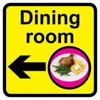 Dining Room Sign with Left Arrow, Dementia Friendly - 30cm x 30cm