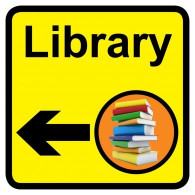 Library sign with left arrow, Dementia Friendly - 300mm x 300mm