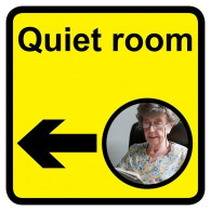 Quiet Room Sign with Left Arrow, Dementia Friendly - 30cm x 30cm