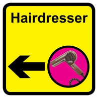 Hairdresser Sign with Left Arrow, Dementia Friendly - 30cm x 30cm
