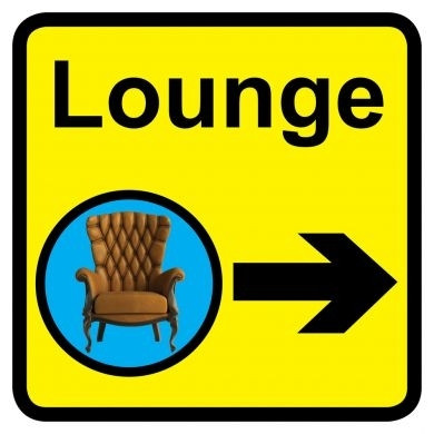 Lounge Sign With Right Arrow Dementia Friendly 30cm X
