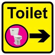 Toilet Sign with Right Arrow, Dementia Friendly - 30cm x 30cm