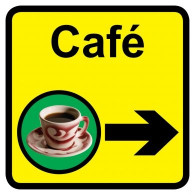 Cafe Sign with Right Arrow, Dementia Friendly - 30cm x 30cm
