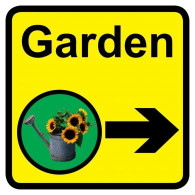 Garden Sign with Right Arrow, Dementia Friendly - 30cm x 30cm