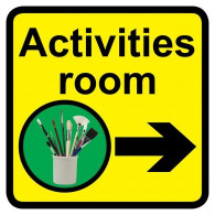 Activities Room Sign with Right Arrow, Dementia Friendly - 30cm x 30cm