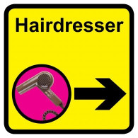 Hairdresser Sign with Right Arrow, Dementia Friendly - 30cm x 30cm