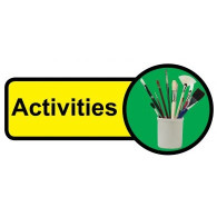 Activities Room Sign, Dementia Friendly - 48cm x 21cm