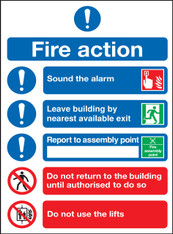 Fire Action (Symbolised) 300mm x 250mm