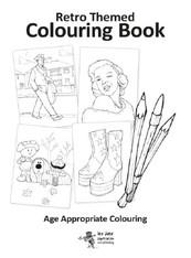 A4 Retro decades colouring book