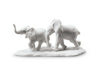 Following The Path Elephants Sculpture. White 01009297 / 9297 (3785901009297)