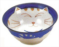 Smiling Blue Cat Porcelain Noodle Bowl 5-3/4in