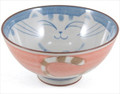 Smiling Pink Cat Porcelain Rice Bowl 4-1/2in