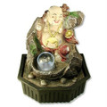 Lucky Buddha Table Water Fountain Crystal Ball w/ Light