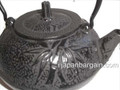 Black Bamboo Pine Plum Cast Iron Teapot 36oz