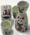 Porcelain Maneki Neko Sake Set White