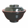 Black/Red Melamie Miso Soup Vegetable Bowl With Lid 16oz