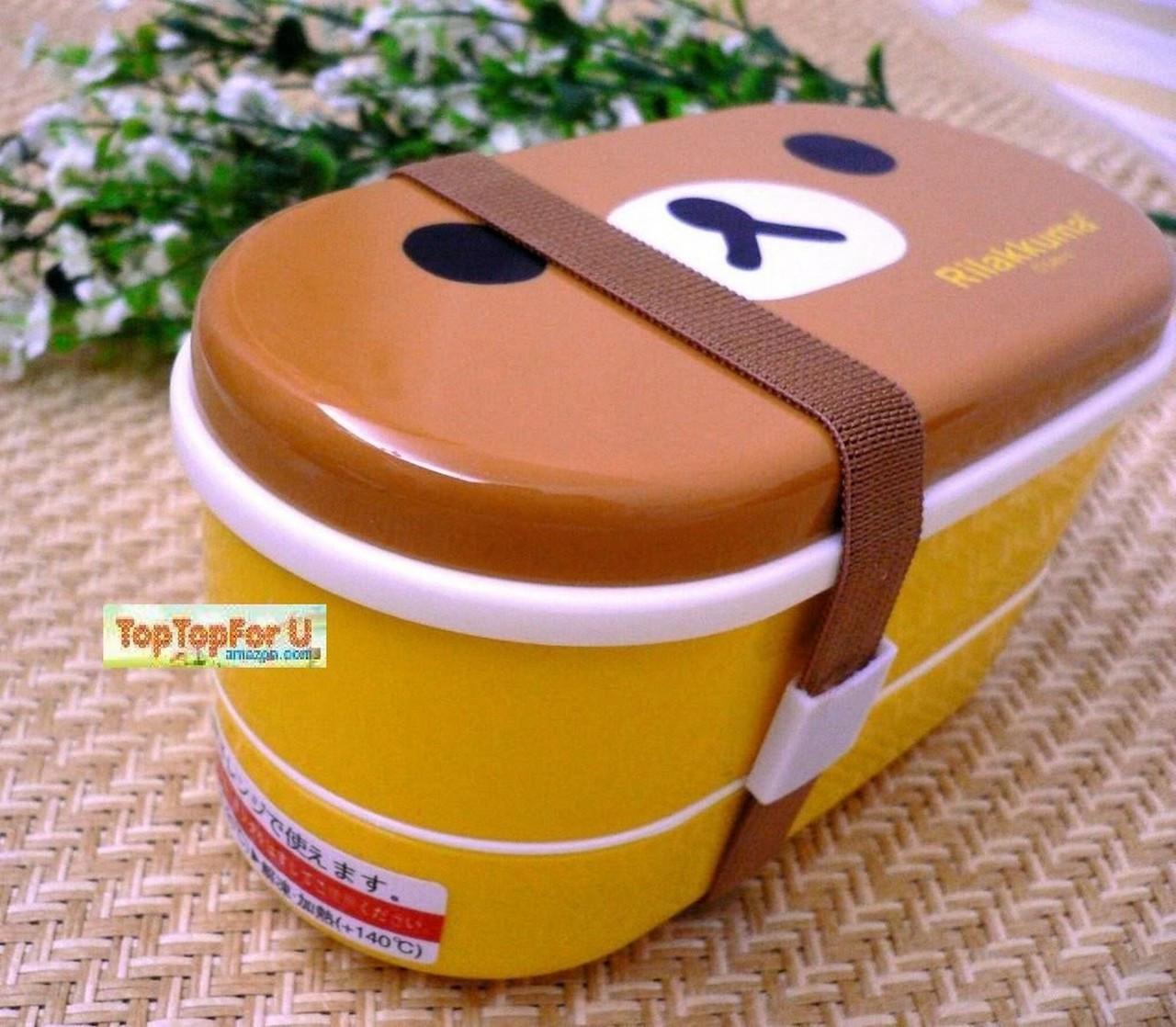 san x rilakkuma bear food lunch box bento w chopsticks japan bargain inc. Black Bedroom Furniture Sets. Home Design Ideas