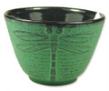 Green Dragonflly Cast Iron Teacup