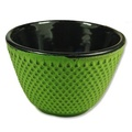 Lime Yellow Hobnail Cast Iron Teacup