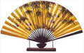 Large Oriental Table Fan Bamboo & Crane 18in