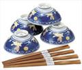 Blue Usagi Porcelain Rice Bowl Set
