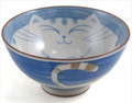 Smiling Blue Cat Porcelain Rice Bowl 4-1/2in
