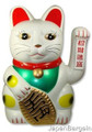 White Lucky Cat Maneki Neko Beckoning 18in