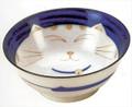Smiling Blue Cat Porcelain Noodle Bowl 7-1/4in