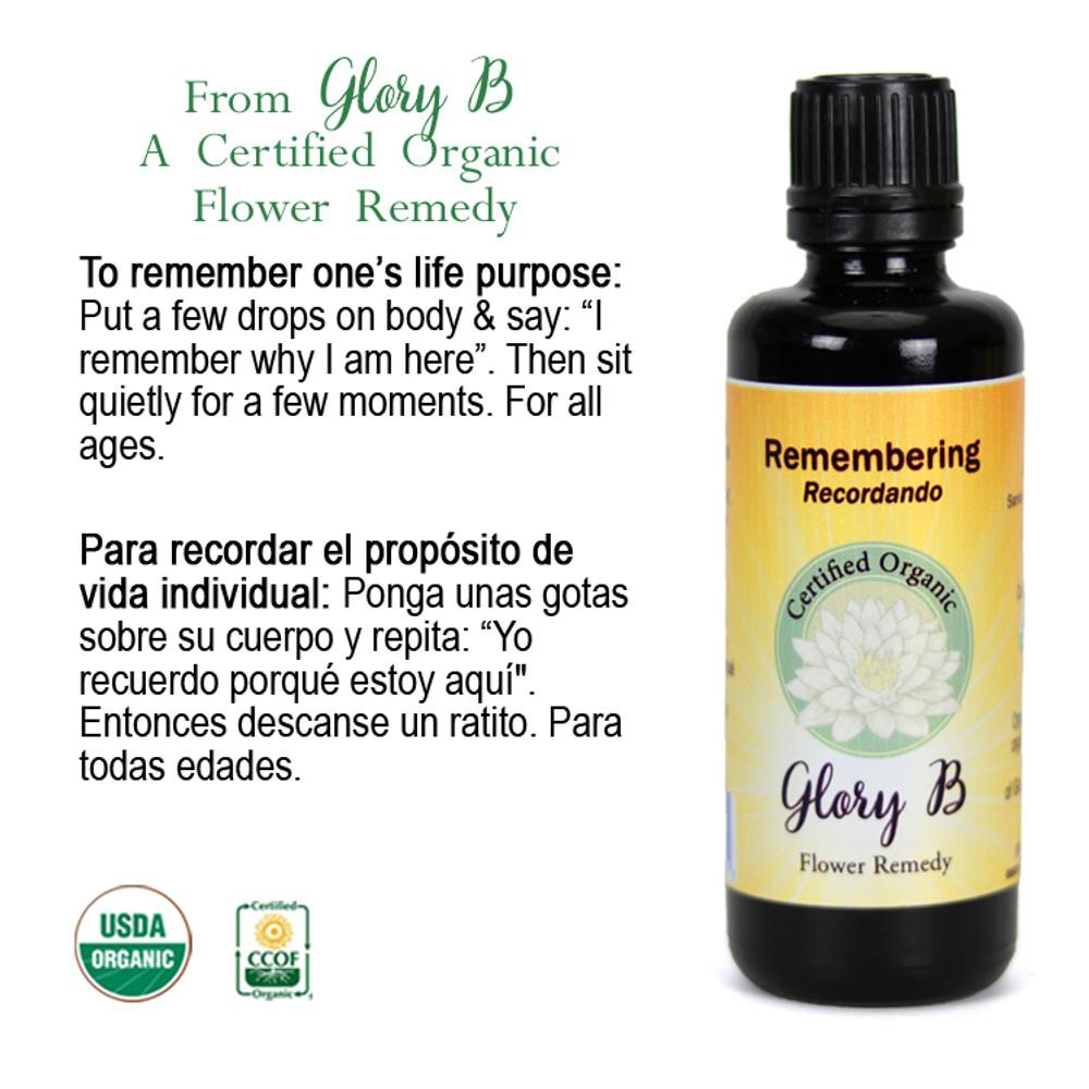 REMEMBERING Organic Flower Essence Blend
