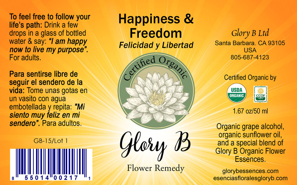 HAPPINESS AND FREEDOM Organic Flower Essence Blend