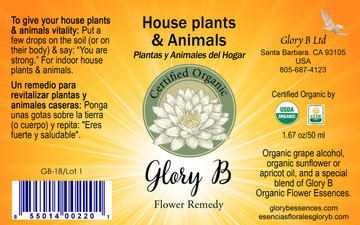 HOUSE PLANTS and ANIMALS Organic Flower Remedy