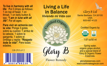 LIVING A LIFE IN BALANCE Organic Flower Remedy