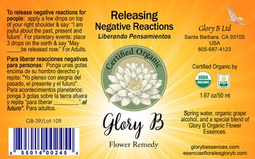 RELEASING NEGATIVE REACTIONS Organic Flower Remedy
