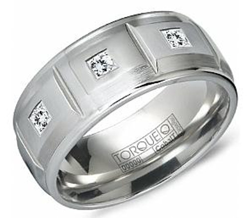 cb 2128 torque diamond cobalt wedding ring - Cobalt Wedding Rings