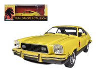 1976 Ford Mustang II Stallion Yellow & Black 1/18 Scale Diecast Car Model By Greenlight 12889