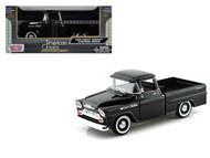 1958 Chevrolet Apache Fleetside Pick Up Truck Black 1/24 Scale Diecast Model By Motor Max 79311
