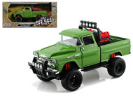 1958 Chevrolet Apache Fleetside Pickup Truck Off Road Green 1/24 Diecast Model By Motor Max 79135