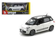 Fiat 500L White 500 L 1/24 Scale Diecast Car Model By Bburago 22126
