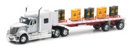 International Lonestar Flatbed With Toxic Barrels Semi Truck & Trailer 1/32 Scale By Newray 10193