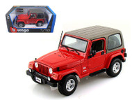 Jeep Wrangler Sahara Red 1/18 Scale Diecast Model By Bburago 12014