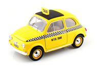 1968 Fiat 500 Taxi Cab Yellow 1/18 Scale Diecast Car Model By Bburago 12066