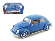 1955 VW Volkswagen Kafer Beetle Blue 1/18 Scale Diecast Car Model By Bburago 12029